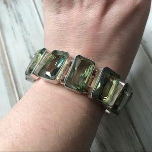 Jewelry - Pale green stone bracelet in silver tone metal
